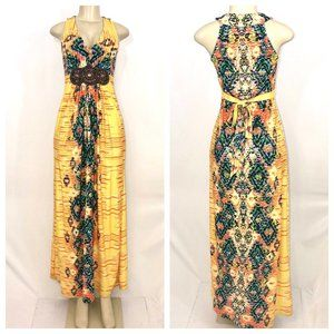 Yellow Multi Color Maxi Dress Size 2